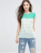 French Connection Polly Striped Tank Top in Coral
