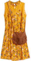Beautees Floral-Print Lace Dress with Necklace & Purse, Big Girls (7-16)