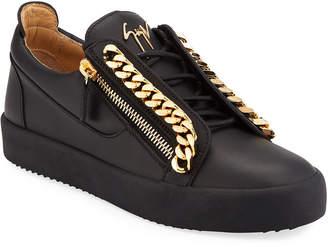 Giuseppe Zanotti Men's Leather Double-Zip Chain Sneakers