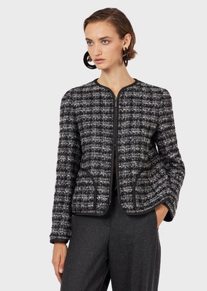 Emporio Armani Zipped, Tweed-Boucle Jacket
