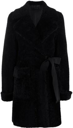 Prada Belted Shearling Coat