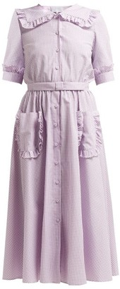 Luisa Beccaria Sailor-collar Gingham Cotton-blend Dress - Womens - Burgundy