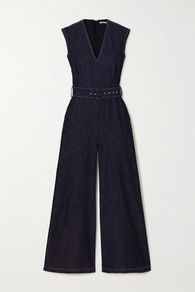 Emilia Wickstead Leslie Belted Denim Jumpsuit - Blue