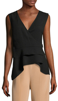 BCBGMAXAZRIA Eleni Wrapped High Low Sleeveless Top