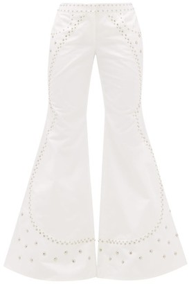 Françoise Francoise - Studded Flared Cotton Trousers - White