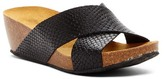 Eric Michael Violet Embossed Crisscross Slip-On Wedge Sandal
