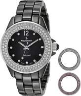 Peugeot Women's PS4910BK Swiss Genuine Ceramic Interchangeable Bezel Set Watch