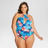 Beach Betty by Miracle Brands Women's Plus Size Mara Floral High Neck One Piece Blue - Beach Betty (Juniors')