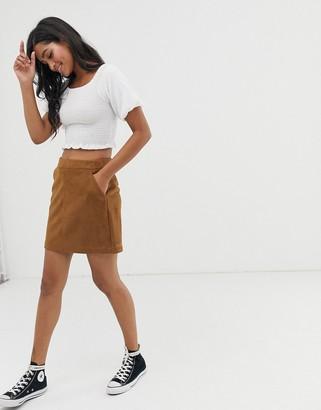 Vero Moda faux suede mini skirt-Brown