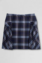 Lands' End Juniors Side Pleat Plaid Skort Above Knee-Classic Navy/Evergreen Plaid