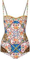 Dolce & Gabbana Printed Balconette Swimsuit - Blue