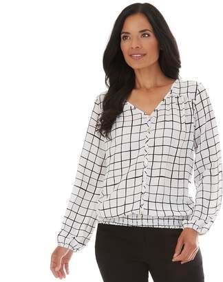 Apt. 9 Women's Smocked-Hem Button-Down Blouse