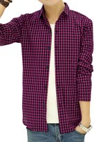 uxcell Men Long Sleeves Point Collar Single Breasted Casual Plaid Shirt
