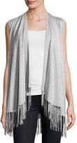 Neiman Marcus Open-Front Vest with Fringe Trim, Heather Gray