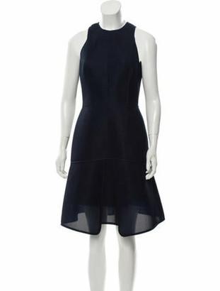 Lela Rose Mesh Knee-Length Dress Blue