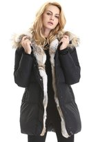 Escalier Women's Long Hooded Thickened Down Coat Real Raccoon Fur Collar Down Jacket Rabbit Fur Removable Parkas