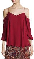 Haute Hippie Cold-Shoulder Silk Chiffon Blouse, Ruby