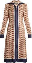 Gucci Guns-print zip-through silk dress