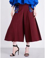 DELPOZO Embellished wide-leg wool-blend trousers