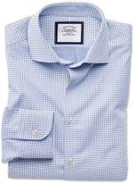 Extra Slim Fit Semi-Spread Collar Business Casual White and Navy Spot Egyptian Cotton Dress Shirt Single Cuff Size 16/35 by Charles Tyrwhitt