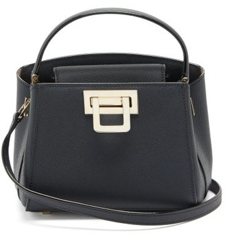 Valextra Brera Mini Grained-leather Bag - Navy
