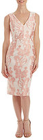 Jax V-Neck Brocade Midi Sheath Dress