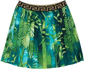 Versace All Over Jungle Print Pleated Skirt