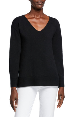 Neiman Marcus Cashmere V-Neck Pullover Sweater w/ Ribbed Cuffs & Hem