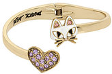 Betsey Johnson Cat & Pave Heart Bypass Hinge Bangle Bracelet