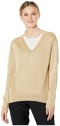 Elliott Lauren Rise Shine V-Neck Sweater with Seam Detail (Peanut) Women's Clothing