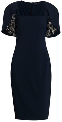 Badgley Mischka Beaded Tulip-Sleeve Dress