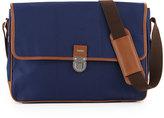 Cole Haan Leather-Trim Nylon Messenger Bag, Navy