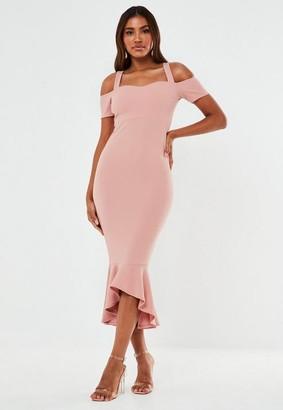 Missguided Crepe Cold Shoulder Frill Hem Midi Bridesmaid Dress