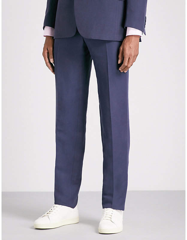 Canali Tailored-fit linen and silk-blend trousers