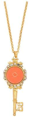 Kenneth Jay Lane Antique Gold And Coral Key Pendant Necklace