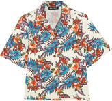 House of Holland Printed slub cotton shirt
