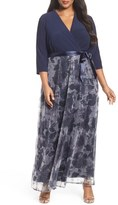Chetta B Jersey & Sequin Maxi Dress (Plus Size)