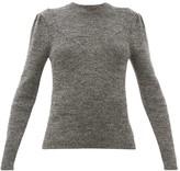 Isabel Marant Hynn Gathered-sleeve Wool-blend Sweater - Womens - Dark Grey