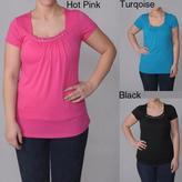 Journee Collection Women's Plus Embellished Neckline Top