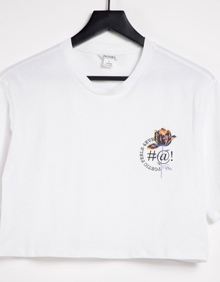 Monki cropped t-shirt in white