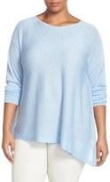 Eileen Fisher Ballet Neck Asymmetrical Knit Top (Plus Size)