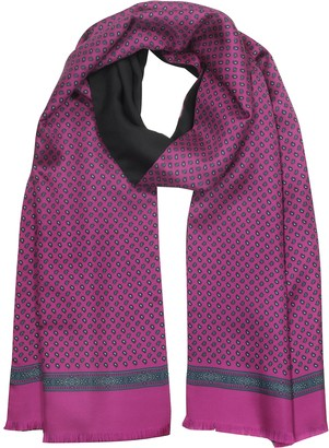 Laura Biagiotti Fuchsia Paisley Print Silk and Black Wool Men's Reversible Scarf w/Fringes
