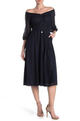 Gabby Skye Pointelle Lace Front Button Midi Dress