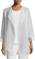 Caroline Rose Long Lace Jacket W/ Fringe Trim