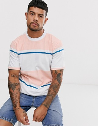 NATIVE YOUTH t-shirt in color block peach and white stripe