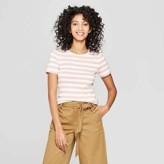 A New Day Women's Striped Short Sleeve Crew Neck T-Shirt
