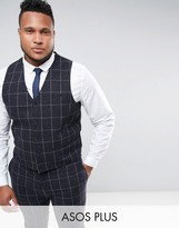 Asos PLUS Super Skinny Suit Vest in Navy Check With Nep