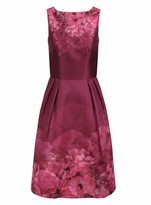 Dorothy Perkins Womens Chi Chi London Burgundy Floral Printed Midi Dress, Burgundy