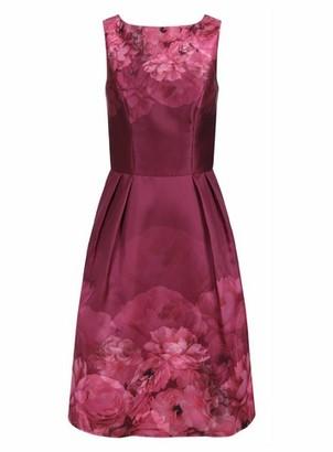 Dorothy Perkins Womens Chi Chi London Burgundy Floral Printed Midi Dress, Burgundy