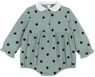 Green & Black Little Sun Apparel Girls' Infant Bodysuits - Sage Polka Dot Collared Long-Sleeve Bodysuit - Infant & Toddler